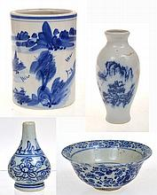 JAPANESE UNDERGLAZED BLUE AND WHITE RICE BOWL, CHIPS, CHINESE BLUE AND WHITE BRUSH POT AND TWO MINIATURE BLUE AND WHITE VASES