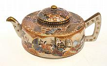JAPANESE SATSUMA TEAPOT, GILT DECORATED DECORATIVE PANELS, SIGNED KINKOZAN SOBEI, 7CM TALL