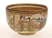 JAPANESE SATSUMA BOWL WITH ELABORATE EXTERNAL SCOLASTIC SCENE, YASUDA TRADE MARK TO BASE, MINOR UNDERGLAZED HAIRLINE TO RIM 6.5CM HIGH