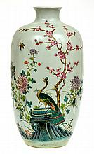 CHINESE ENAMELLED PORCELAIN VASE WITH PEACOCK MOTIF, SEAL MARK TO BASE, 38CM HIGH