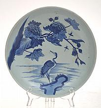 CHINESE PORCELAIN BLUE AND WHITE SHALLOW BOWL WITH CRANE SCENE, 28CM DIA.