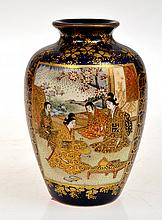 SMALL JAPANESE SATSUMA VASE, COBALT BLUE GROUND WITH GEISHA SCENE, SIGNED KINKOSAN, WEAR TO GILDING, 9.5CM HIGH