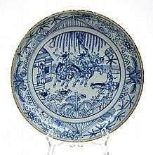 CHINESE BLUE AND WHITE PLATE, UNDERGLAZED DECORATION,  28.5CM DIAMETER