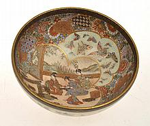 JAPANESE SATSUMA BOWL WITH ELABORATE INTERNAL CEREMONIAL SCENE WITH VARIOUS BUTTERFLY AND FLORAL PANELS, 4.5CM HIGH, 10.5CM DIA.