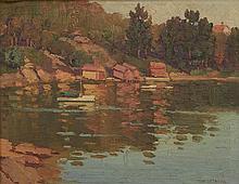 ERIK LANGKER (1898-1982) Waterfront oil on canvas on board