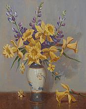 ERIK LANGKER (1898-1982) Arrangement in Blue and Gold oil on canvas on board
