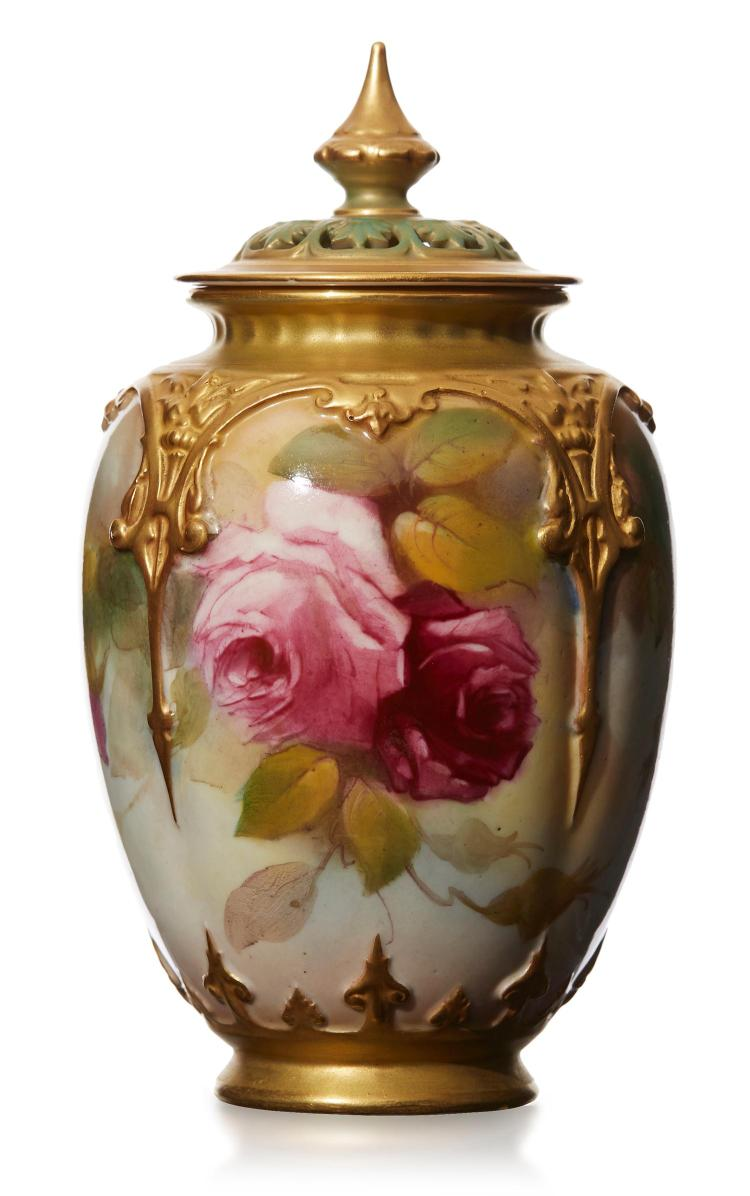 a royal worcester pot pourri vase and cover 39 roses 39 by kitt. Black Bedroom Furniture Sets. Home Design Ideas