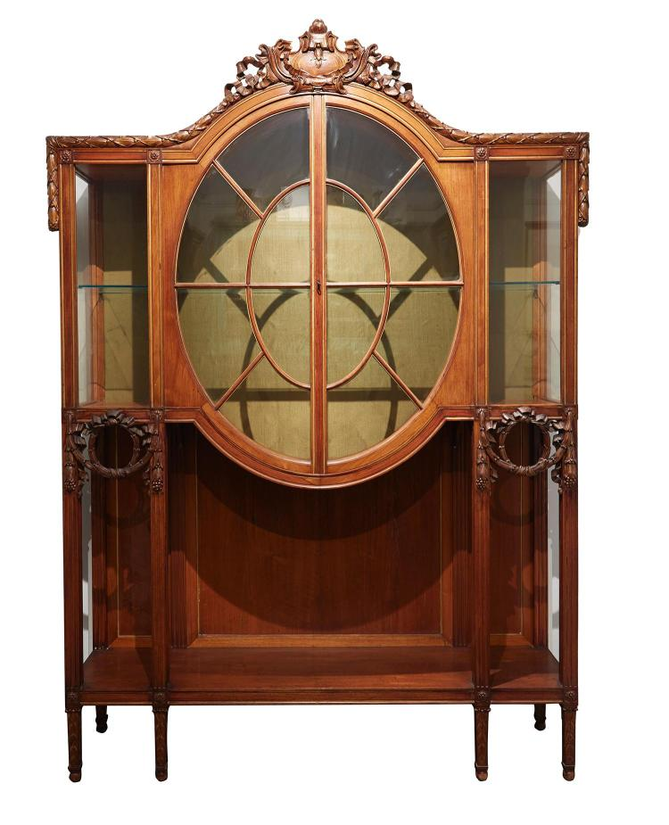 A Continental Walnut Display Cabinet Early 20th Century
