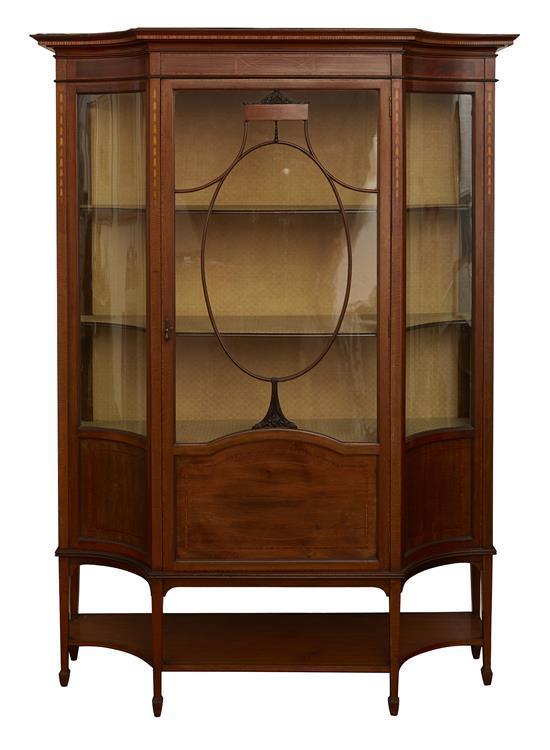 A Good Edwardian Satinwood Inlay Display Cabinet