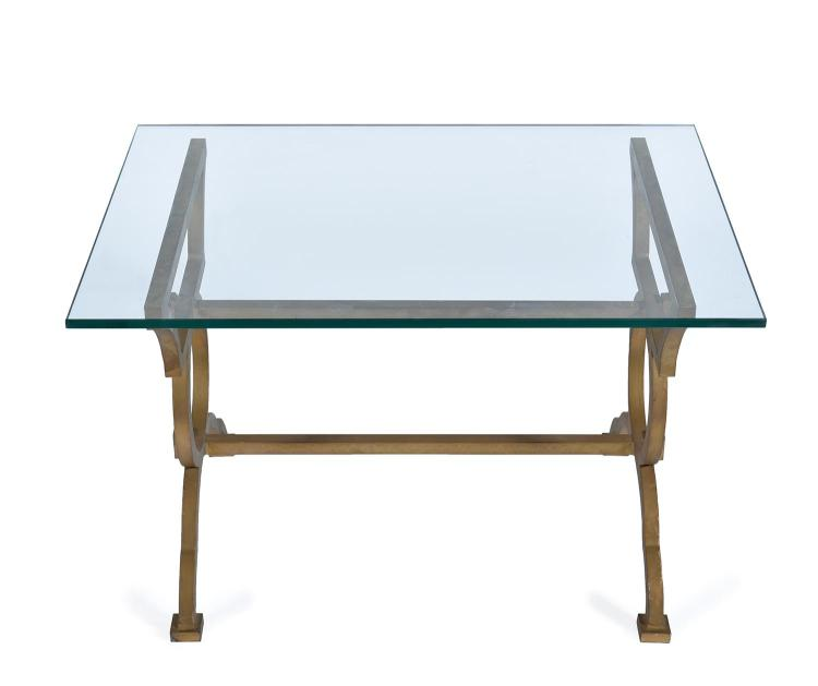 A pair of gilt painted glass top wrought iron side tables for Wrought iron and glass side tables