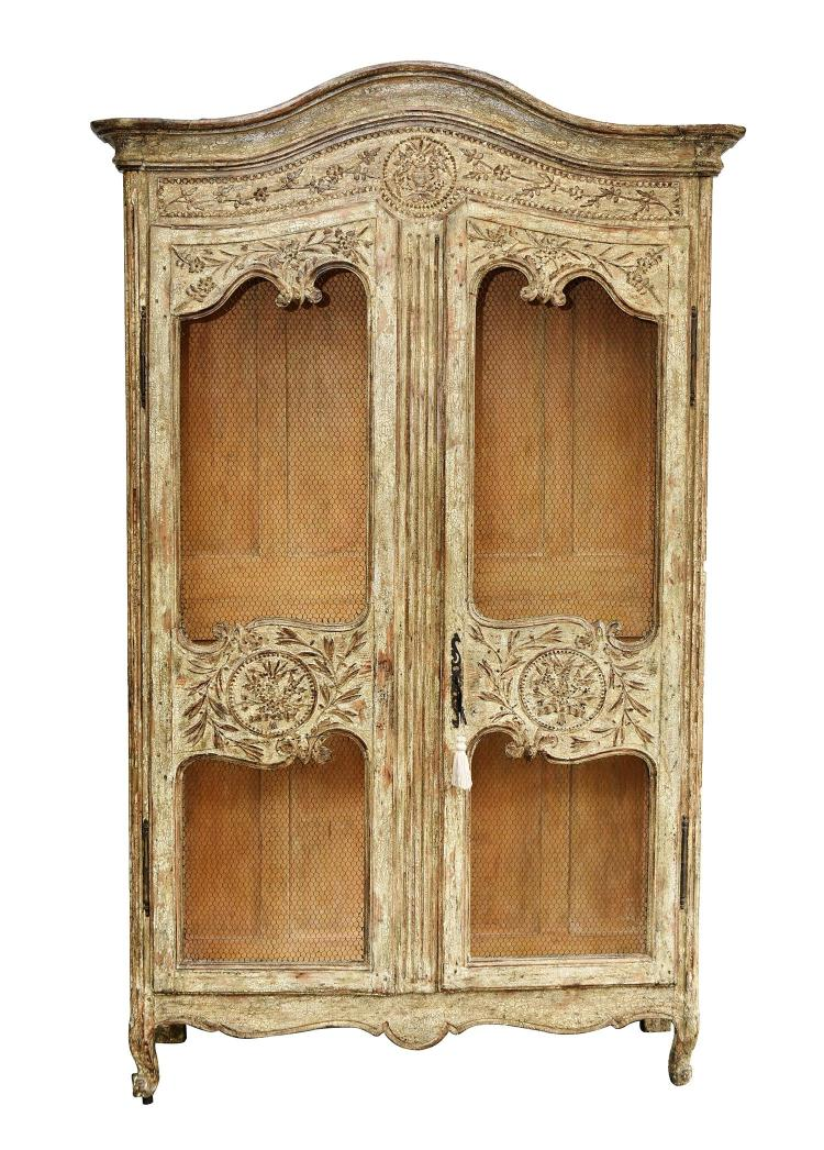 a louis xv style painted armoire. Black Bedroom Furniture Sets. Home Design Ideas