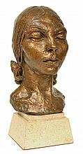 SIR JACOB EPSTEIN (British, 1880-1959) Portrait Head Of Mary Blandford 1931 bronze with gilt patina