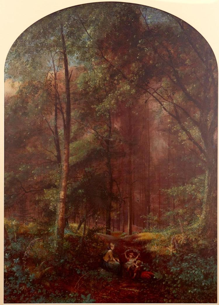 EDWARD FACON WATSON (British, active 1839-1870) Young Girl on Path 1859; Woman and Children in Forest watercolour and gouache on pap...