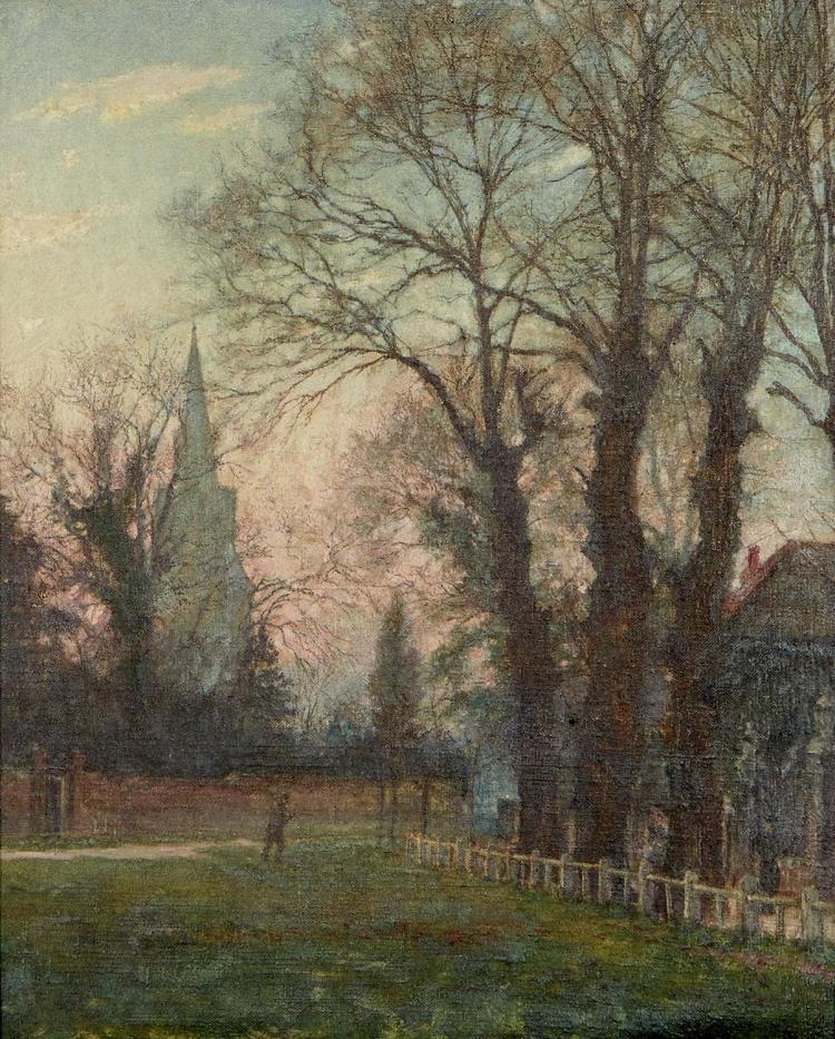 JAMES ARTHUR FOUND (British, active c.1907-c.1938) Christ Church & the Green, Southgate, London 1907 oil on canvas