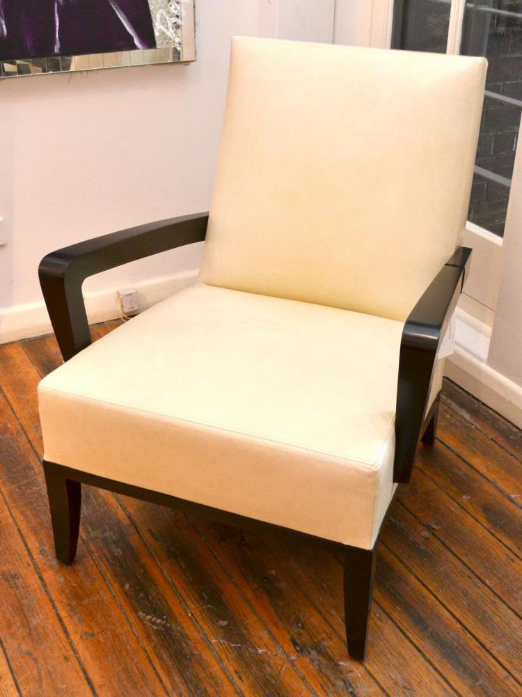 A Pair Of Dakota Jackson White Leather Armchairs
