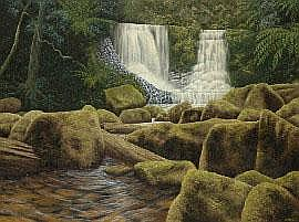 Lin Onus (1948-1996) Horseshoe Falls Tasmania oil