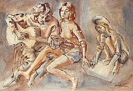 Louis V. Kahan (1905-2002) The Guitar Player ink