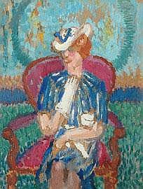 Sybil Craig (1901-1989) Seated Woman oil on card