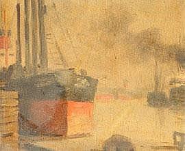 Colin Colahan (1897-1987) Melbourne Port Scene