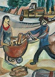 Sarah Faulkner (born 1959) The Woodcarter 1989 oil
