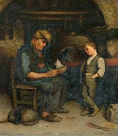 Alfred James Daplyn (1844-1926) The Boatmaker 1886