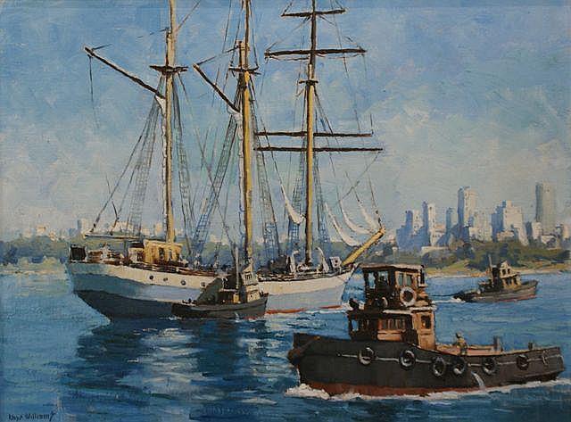 Rhys Williams (1894-1976) Indonesian Training Ship, The Arutji oil on board