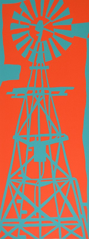 BARBARA BRASH, WINDMILL, SCREENPRINT 4/70, 50.5 X 20CM