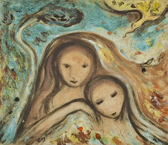 LUCY BOYD BECK (BORN 1916) Two Figures glazed earthenware tile