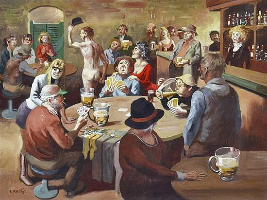 ROBERT YOUNG (BORN 1926) At the Bar oil on board