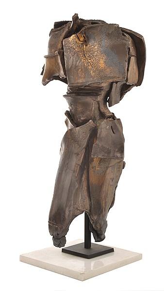 MARIA KUCZYNSKA (BORN 1948) Standing Figure ceramic with bronzed glaze on marble base