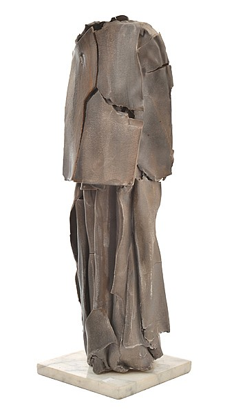 MARIA KUCZYNSKA (BORN 1948) Standing Figure ceramic with pewter and bronzed glaze on marble base