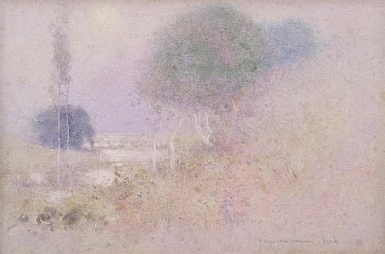 J.W. TRISTRAM (1872-1938) The Creek in Morning Mist 1924 watercolour