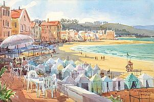 TOM HILL (AMERICAN, BORN 1925) Nazare watercolour