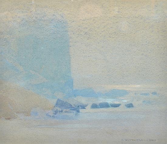 J.W. TRISTRAM (1872-1938) Nocturne at Narrabeen Cliffs 1930 watercolour