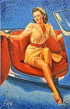 DENNIS ROPAR (BORN 1971) Pin-Up Girl in Convertible oil on canvas