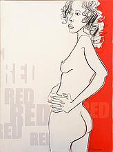 FRANK MALERBA (BORN 1950) Red mixed media on canvas