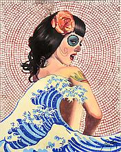 DENNIS ROPAR (BORN 1971) Girl and the Great Wave (Day of the Dead Series) acrylic and mirror on board
