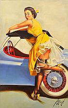 DENNIS ROPAR (BORN 1971) Pin-Up Girl in Yellow Dress oil on canvas