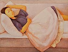 XUE MO (MONGOLIAN, BORN 1966) Resting 2002 oil on canvas