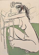 FRANK MALERBA (BORN 1950) Nude Resting on Table mixed media on canvas