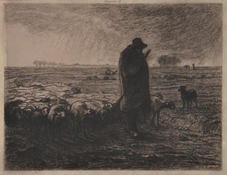 AFTER JEAN FRANÇOIS MILLET (French, 1814-1875) The Shepherd etching plate 40 from a portfolio edition
