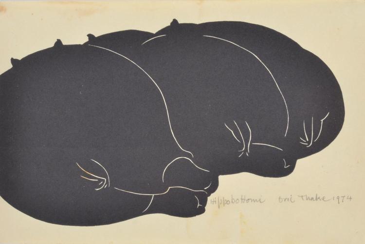 ERIC THAKE (1904-1982) Hippobottomi 1974 linocut