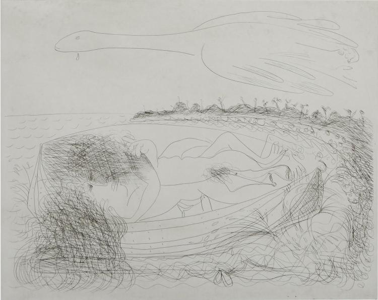 ARTHUR BOYD (1920-1999) (LOCATION SYDNEY OFFICE - all enquiries phone 02 9362 9045) Untitled (Lovers in a Boat) etching