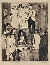 GEOFFREY BROWN (born 1926) ''Fiesta'' Sideshow Entertainter 1955 etching edition 5/40