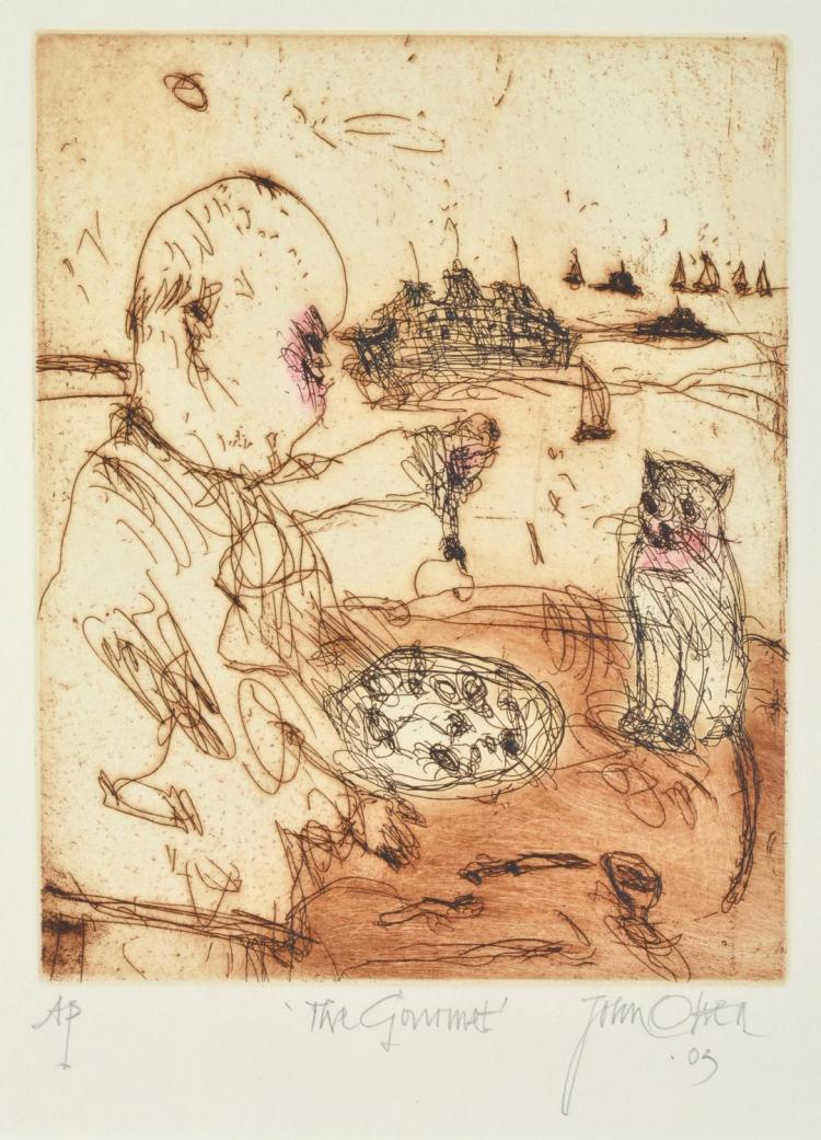 JOHN OLSEN (born 1928) The Gourmet 2003 etching Artist's Proof