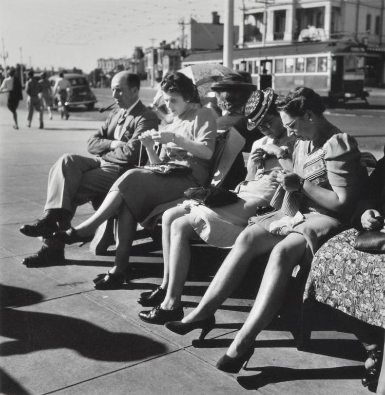 MAX DUPAIN (1911-1992) People at the Tram Stop silver gelatin print 11/90 printed from the original negative in 1999