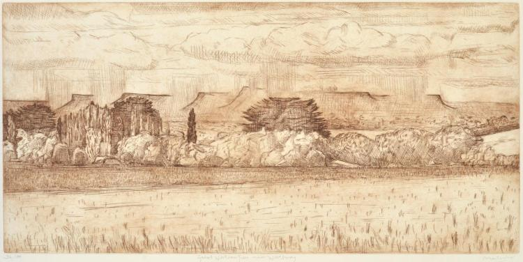 JEFF MAKIN (born 1943) Great Westerns Tiers near Westbury etching edition 3/50