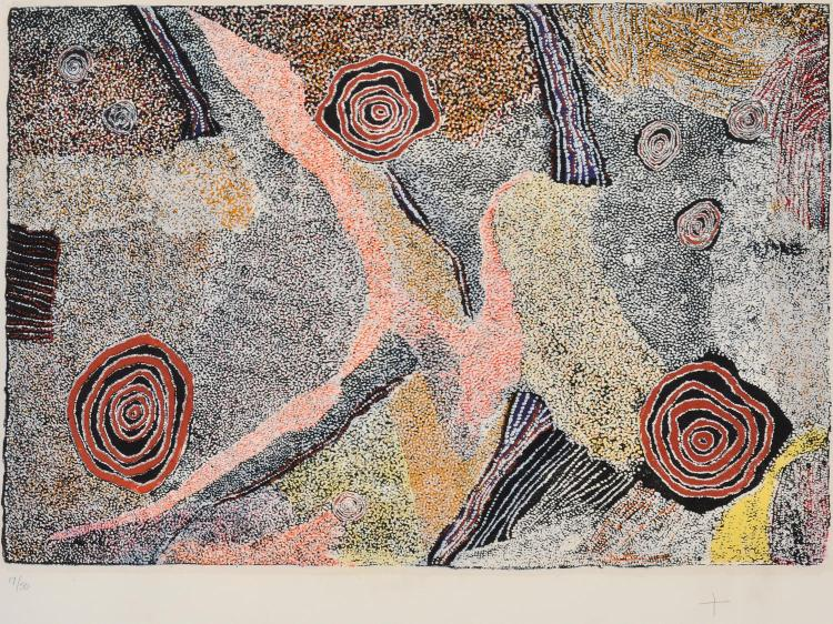 BILL WHISKEY TJAPALTJARRI (c.1920-2008) Rockhole collagraph edition 17/50