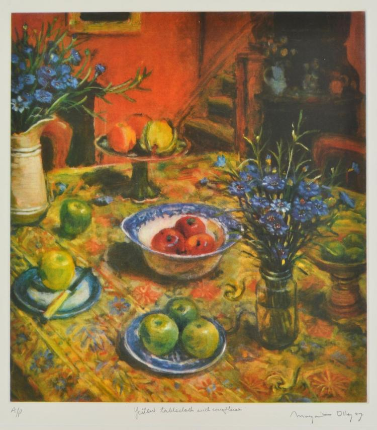 MARGARET OLLEY (1923-2011) Yellow Tablecloth with Cornflowers 2007 coloured etching A/P