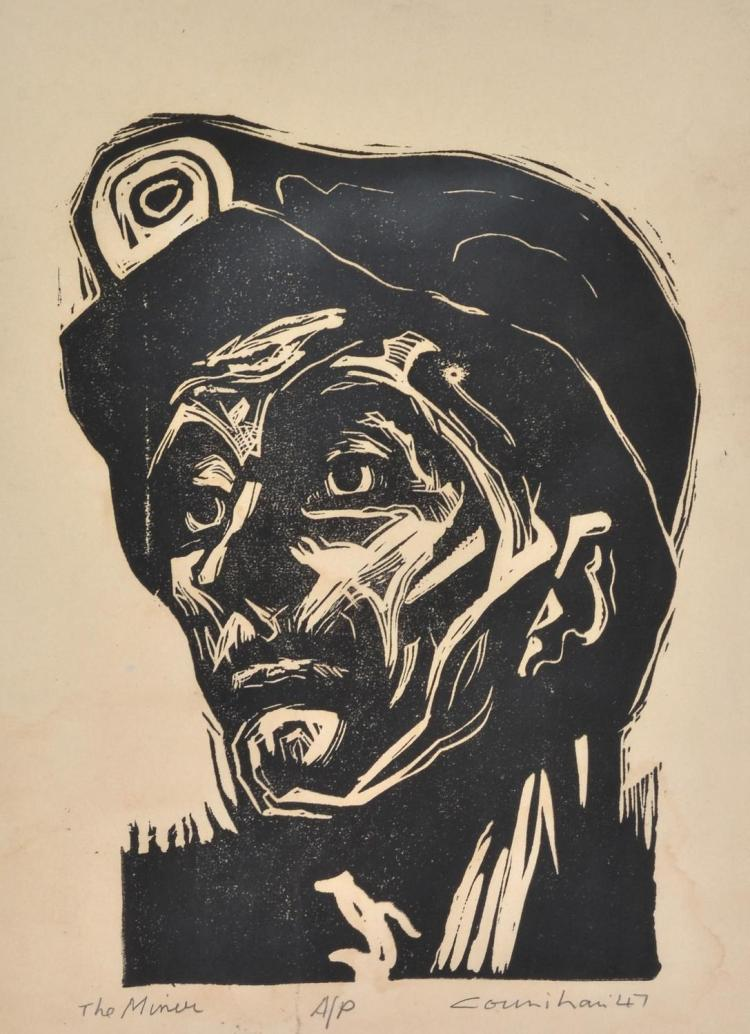 NOEL COUNIHAN (1913-1986) The Miner 1947 linocut Artist''s Proof